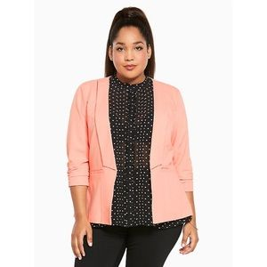 NWT Torrid Apricot Coral Ruched Sleeve Blazer